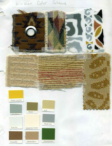 Fabric and paint swatches for my kitchen
