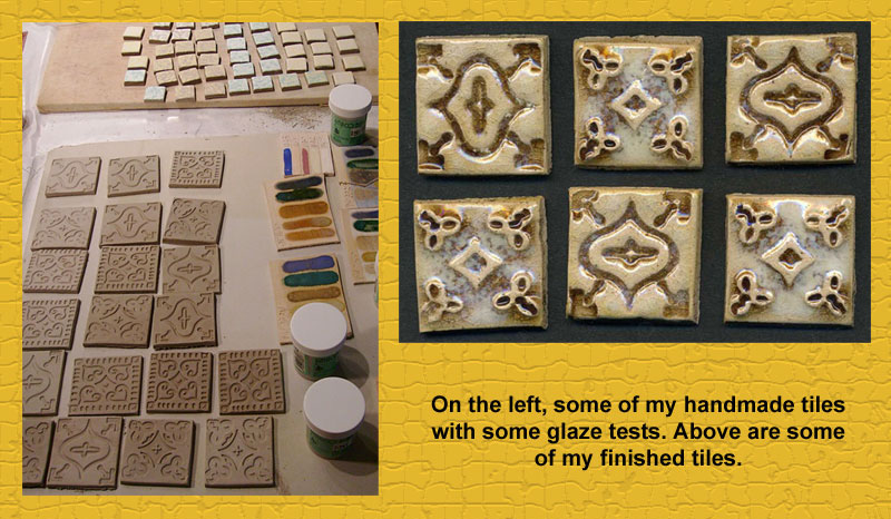 Handmade ceramic tiles I made for my kitchen backsplash,.