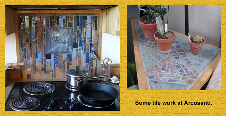 Tile work at Arcosanti including a sample kitchen backsplash.