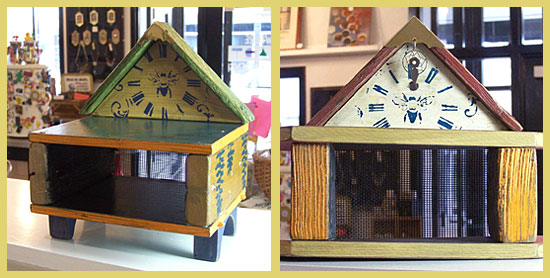 Pollinator houses made with distressed wood