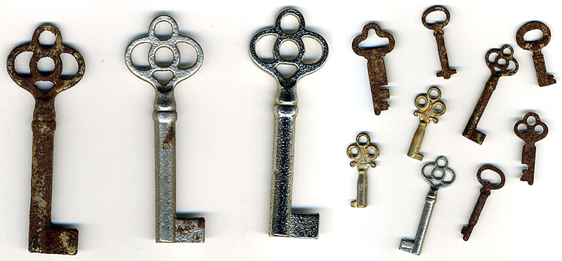 vintage and new keys with varying degrees of patina