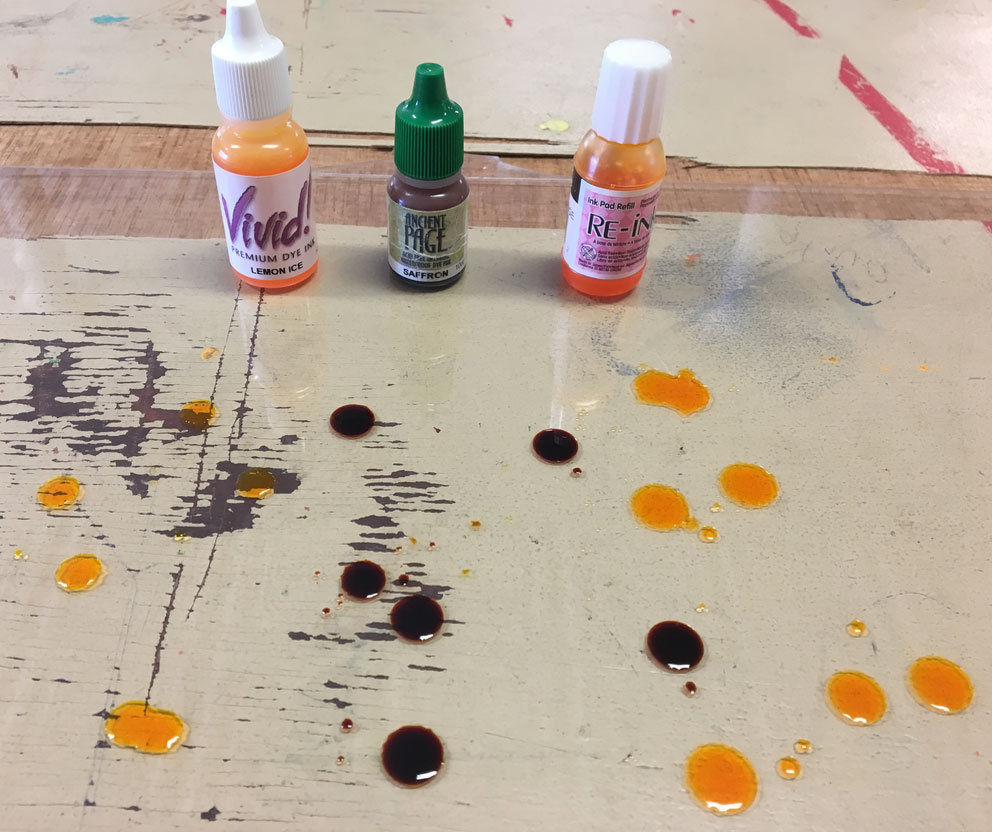 Squirt Some Light Colored Dye Based Ink Onto A Piece Of Plexiglass You Can Use One Color Or Blend Multiple Colors Roll Out An Area With
