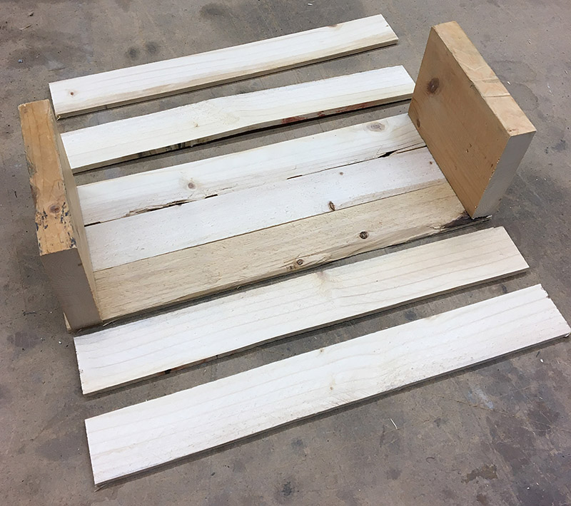 Cut pieces of wood ready to paint, sand and assemble