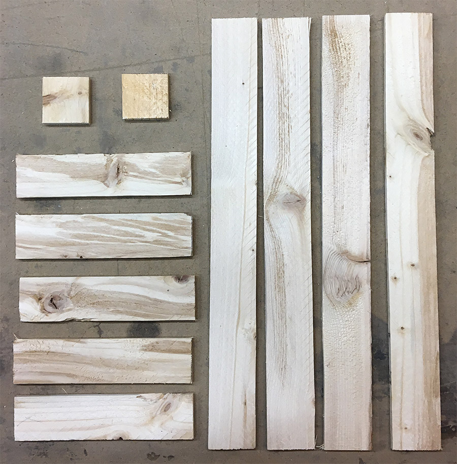Pieces cut from lath wood