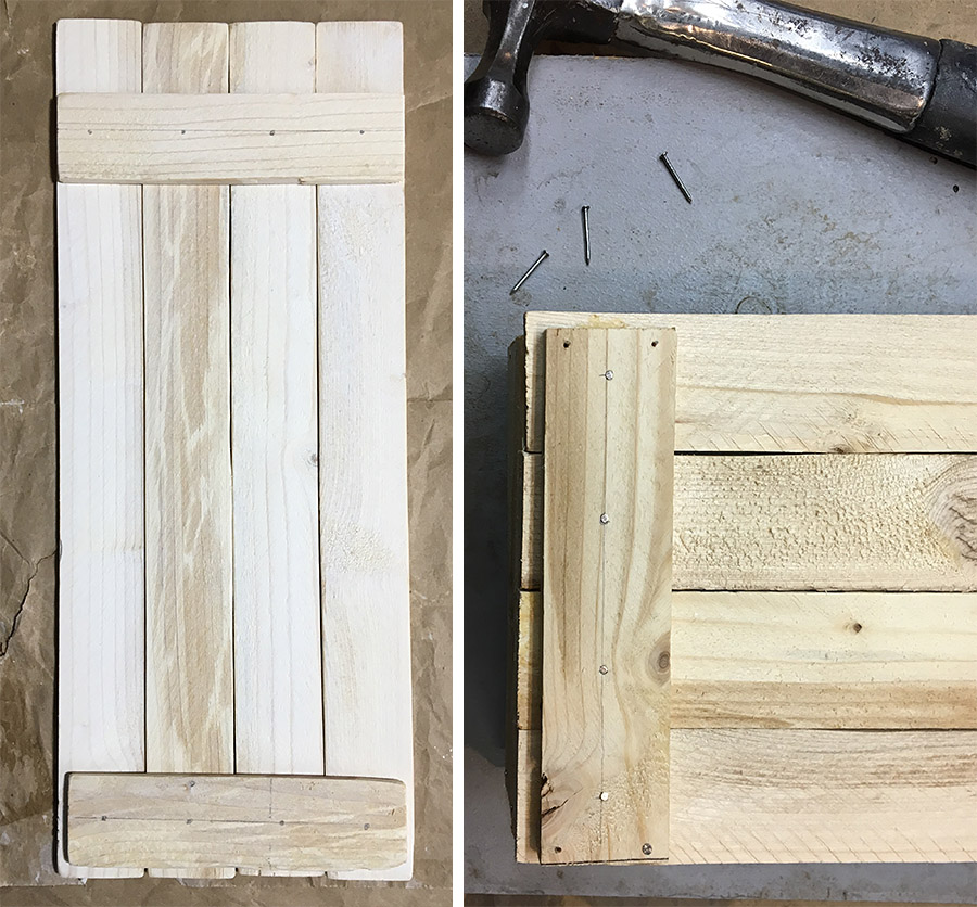 Nailing wood slats to back to hold vertical wood pieces together