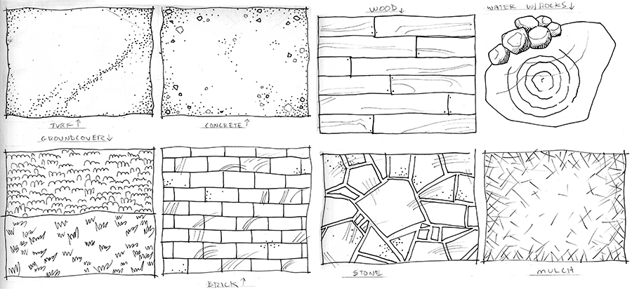 Practice drawing surfaces and landscaping symbols.