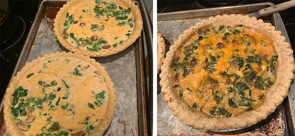 Unbaked and baked quiche