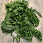 Chiffonade cut collards