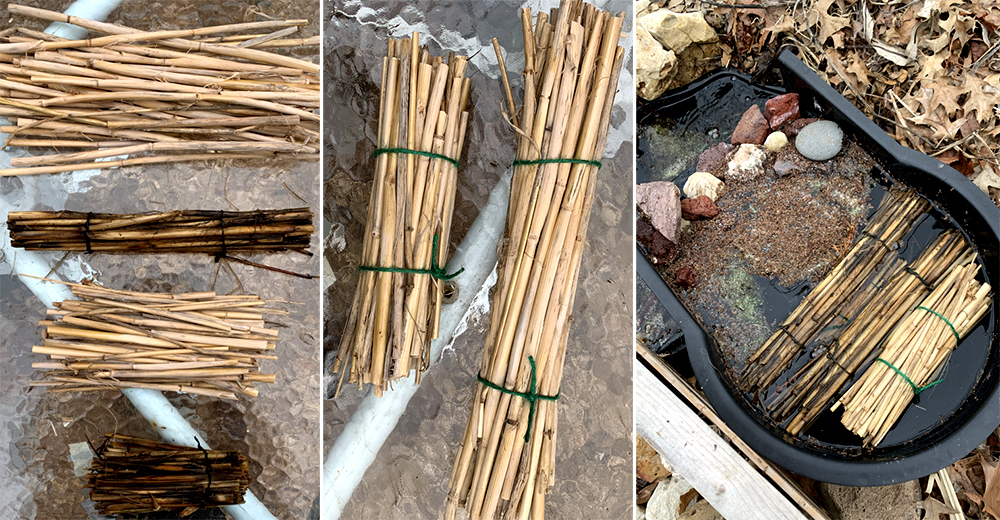 Forming straw bundles for pond filter.